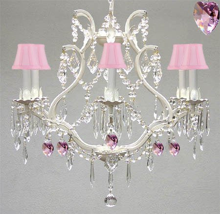 Wrought Iron & Crystal Chandelier Authentic Empress Crystal(Tm) Chandelier With Pink Hearts! Nursery, Kids, Girls Bedrooms, Kitchen, Etc. With Pink Shades! - A83-Pinkshades/White/B21/3530/6