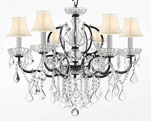 "Nineteenth C. Rococo Iron & Crystal Chandelier Lighting Dressed With Empress Crystal And White Shades H 25"" X W 26"" - G83-Whiteshades/994/6"