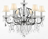 "Swarovski Crystal Trimmed Chandelier 19Th C. Rococo Iron & Crystal Chandelier Lighting With White Shades H 25"" X W 26"" - A83-Whiteshades/994/6Sw"