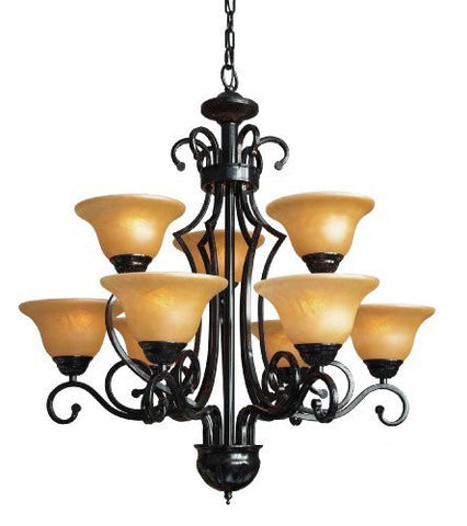 "Wrought Iron Chandelier H30"" W28"" 9 Lights - A84-451/9"
