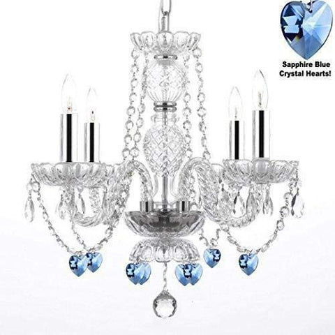 "Authentic All Crystal Chandelier Chandeliers Lighting with Sapphire Blue Crystal Hearts! Perfect for Living Room, Dining Room, Kitchen, Kid's Bedroom w/Chrome Sleeves! H17"" W17"" - G46-B43/B85/275/4"
