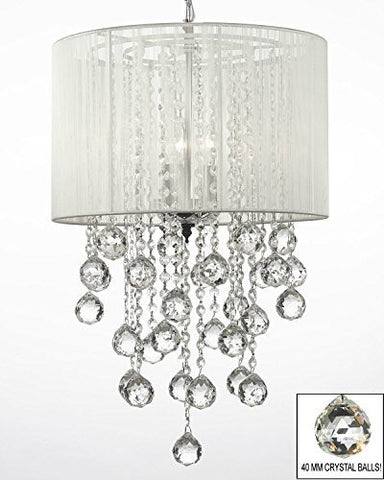 "Crystal Chandelier W/ Large White Shade & Crystal Balls H24"" W15"" - Dressed With High Quality Diamond Cut Crystal - G7-B59/B6/White/3/604/3"