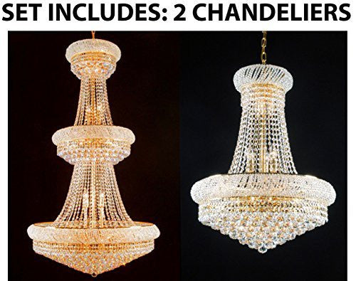 Set Of 2 - 1 For Entryway/Foyer And 1 For Dining Room French Empire Empress Crystal (Tm) Chandeliers Chandelier Lighting - 1Ea Cg/541/32+1Ea Cg/542/15