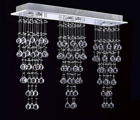 "Modern Contemporary Chandelier Triple ""Rain Drop"" Chandeliers Lighting With Empress Crystal (Tm) Balls H31"" X W39"" X L10"" - G93-815/3+3+3"
