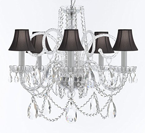 "Murano Venetian Style Chandelier Crystal Lights Fixture Pendant Ceiling Lamp for Dining Room, Bedroom, Entryway , Living Room with Large, Luxe, Diamond Cut Crystals! H25"" X W24"" w/ Black Shades - A46-BLACKSHADES/B93/B89/385/5DC"