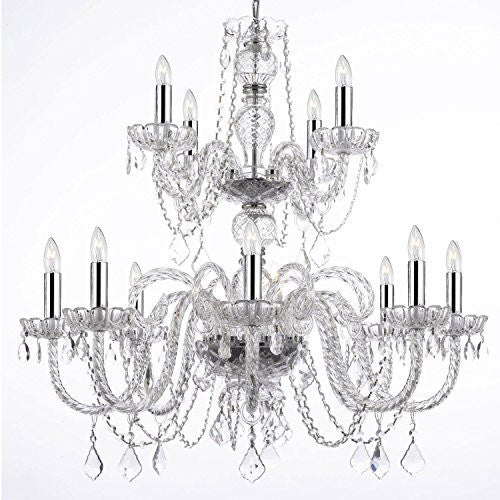 "Empress Crystal (Tm) Chandelier Lighting With Chrome Sleeves H30"" W28"" - F46-B43/385/8+4"