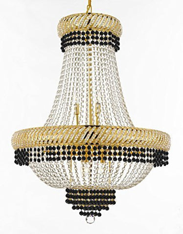 "French Empire Crystal Chandelier Chandeliers Lighting Trimmed With Jet Black Crystal Good For Dining Room Foyer Entryway Family Room And More H34"" X W27"" - F93-B79/Cg/448/12"