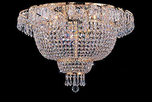 "Flush French Empire Crystal Chandelier Lighting 19.5"" X 24"" - A93-Flush/Cg/928/9"