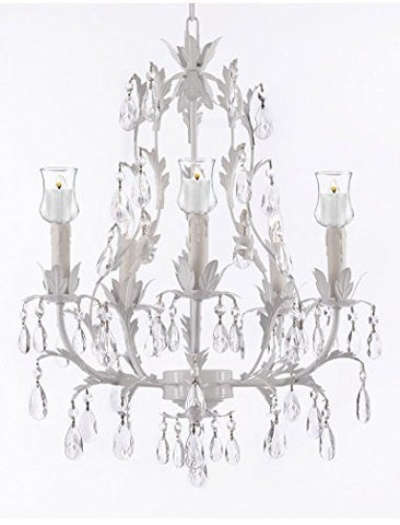 White Wrought Iron Floral Chandelier W/ Votive Candles! - For Indoor / Outdoor Use! Great For Outdoor Events, Hang From Trees / Gazebo / Pergola / Porch / Patio / Tent ! - G7-B31/White/407/5
