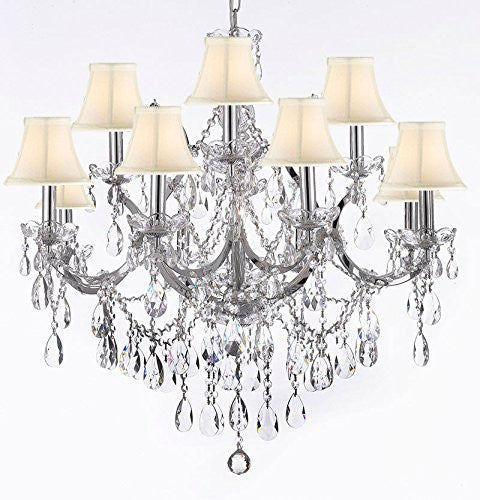 "Maria Theresa Chandelier Lighting Crystal Chandeliers H30 ""X W28"" Chrome Finish With Shades - J10-Sc/Whiteshades/Chrome/26049/12+1"