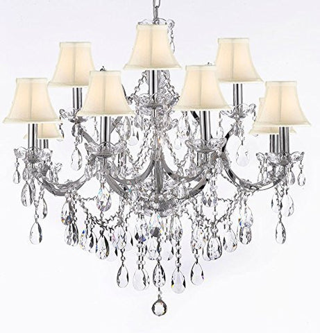 "Maria Theresa Chandelier Lighting Crystal Chandeliers H30 ""X W28"" Chrome Finish With Shades - A83-Sc/Whiteshades/Chrome/2527/12+1"