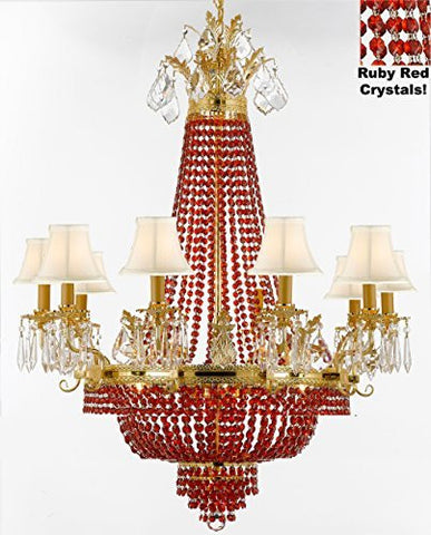 "French Empire Crystal Chandelier Chandeliers H32"" W25"" - Dressed With Ruby Red Crystals And White Shades Perfect For Dining Room / Entryway / Foyer / Living Room - F93-B81/Whiteshade/1280/8+4"
