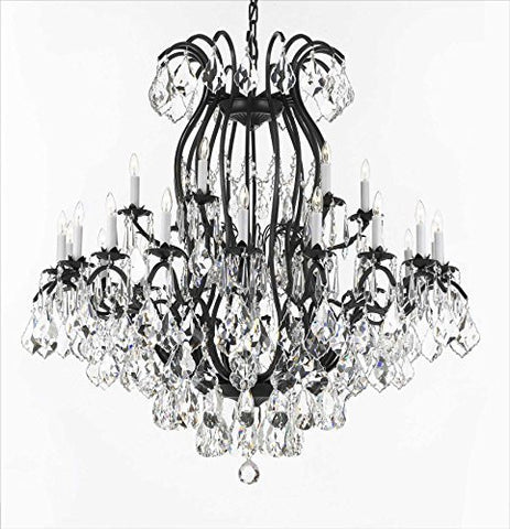 "Swarovski Crystal Trimmed Chandelier Wrought Iron Crystal Chandelier Lighting H46"" W46"" Perfect For An Entryway Or Foyer - A83-3034/18+6Sw"