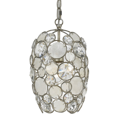 1 Light Antique Silver Coastal Mini Chandelier Draped In Natural White Capiz Shell + Hand Cut Crystal  - C193-523-SA