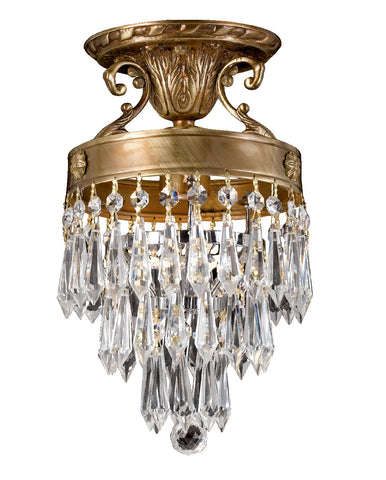 1 Light Aged Brass Traditional Ceiling Mount Draped In Clear Hand Cut Crystal - C193-5270-AG-CL-MWP