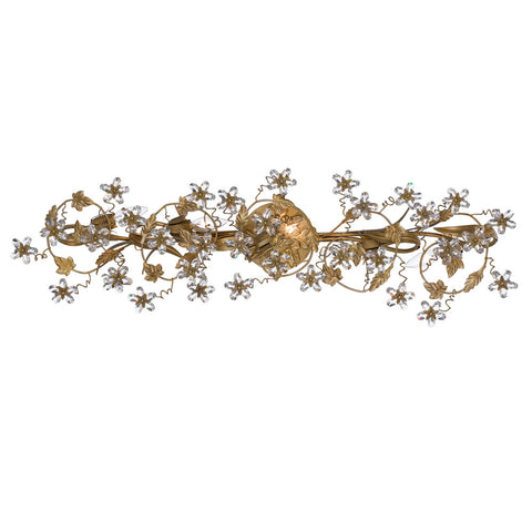5 Light Gold Leaf Youth Bathroom-Vanity Light Draped In Clear Hand Cut Crystal - C193-5307-GL