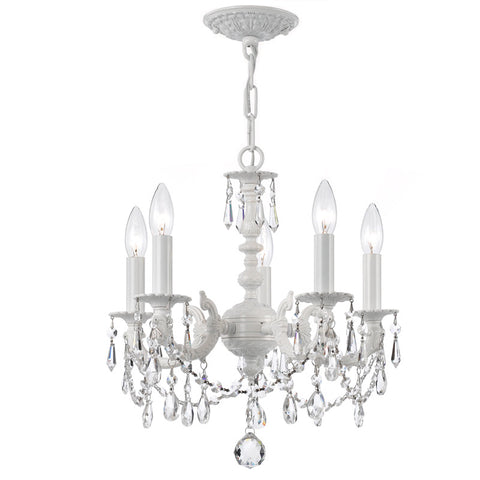 5 Light Wet White Youth Mini Chandelier Draped In Clear Hand Cut Crystal - C193-5515-WW-CL-MWP