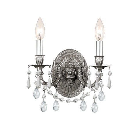 2 Light Pewter Traditional Sconce Draped In Clear Hand Cut Crystal - C193-5522-PW-CL-MWP