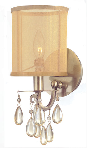 1 Light Antique Brass Transitional Sconce Draped In Etruscan Smooth Teardrop Almond Crystal - C193-5621-AB
