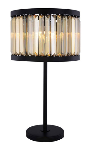 ZC121-1233TL18MB-GT/RC - Urban Classic: Chelsea 4 light Matte Black Table Lamp Golden Teak (Smoky) Royal Cut Crystal