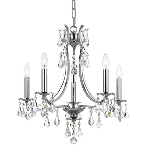5 Light Polished Chrome Crystal Mini Chandelier Draped In Clear Swarovski Strass Crystal - C193-5935-CH-CL-S