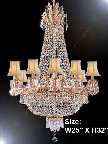 Empire Crystal Chandelier Lighting With Shades - F93-Whiteshades/1280/8+4