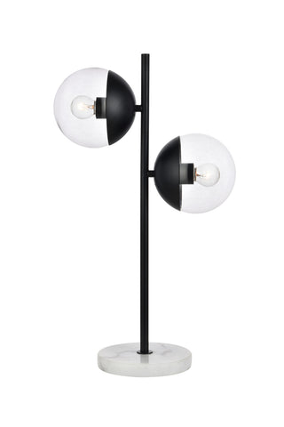 ZC121-LD6153BK - Living District: Eclipse 2 Lights Black Table Lamp With Clear Glass