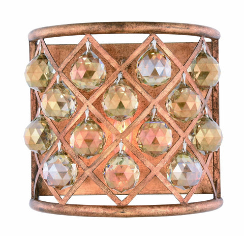 ZC121-1214W11GI-GT/RC - Urban Classic: Madison 1 light Golden Iron Wall Sconce Golden Teak (Smoky) Royal Cut Crystal