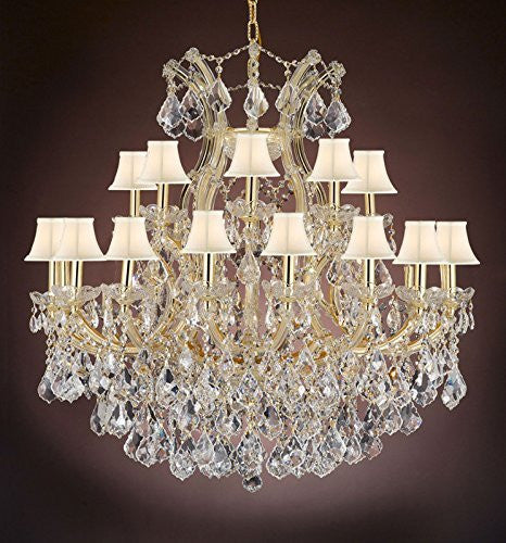"Maria Theresa Empress Crystal(Tm) Chandelier Lighting With White Shades H 36"" W 36"" - Cjd-Cg/Sc/2181/36"