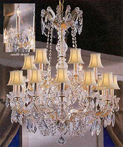"Maria Theresa Crystal Chandelier Lighting With White Shades 30""X28"" - F83-Sc/Whiteshade/152/18"