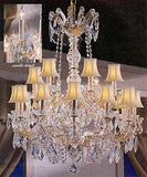 "Maria Theresa Crystal Chandelier W/ Swarovski Crystal Chandeliers Lighting With White Shades 30""X28"" - A83-Sc/Whiteshades/152/18Sw"