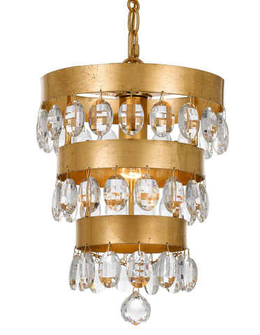 1 Light Antique Gold Transitional Mini Chandelier Draped In Clear Elliptical Faceted Crystal - C193-6103-GA