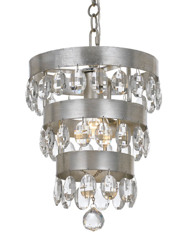 1 Light Antique Silver Transitional Mini Chandelier Draped In Clear Elliptical Faceted Crystal - C193-6103-SA