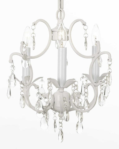 "White Chandelier Wrought Iron Crystal Chandeliers H14"" W11"" Swag Plug In-chandelier w/ 14' Feet of Hanging Chain and Wire - G7-B17/WHITE/618/3"