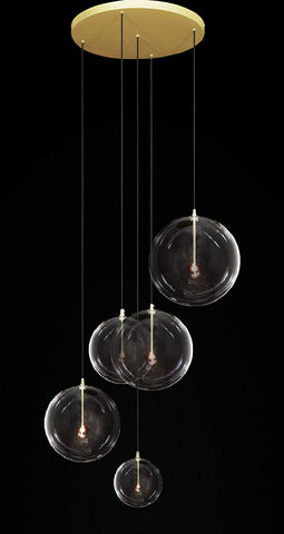 Glass Globe Mobile Chandelier - Industrial Loft Rustic Lighting Great for Living Room, Dining Room, Foyer and Entryway, Family Room - G7-CG/4494/5