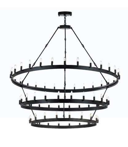"Wrought Iron Vintage Barn Metal Camino Three Tier Chandelier Chandeliers Industrial Loft Rustic Lighting W 63"" H 75"" - G7-3428/30+24+18"