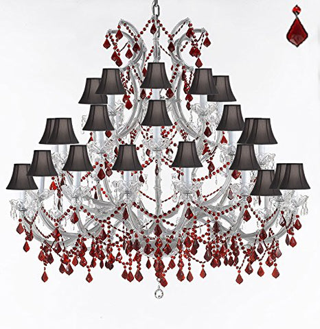 "Crystal Chandelier Lighting Chandeliers H49"" W52"" Dressed with Ruby Red Crystals! Great for the Foyer, Entry Way, Living Room, Family Room and More! w/Black Shades - A83-B2/BLACKSHADES/SILVER/756/36+1 RED"
