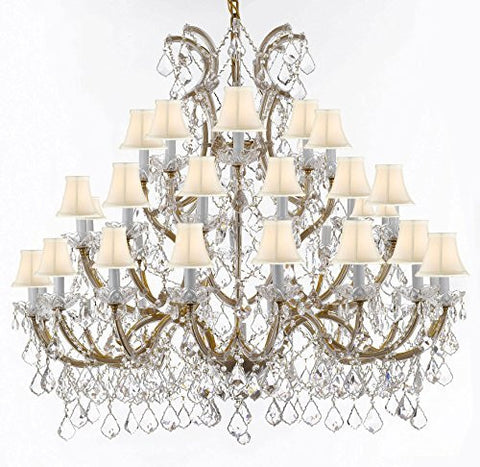 Chandelier Crystal Chandeliers Lighting 52X46 With White Shades - Reliable Crystal Quality By Swarovski - Gb104-Sc/Whiteshade/Gold/756/36+1Sw