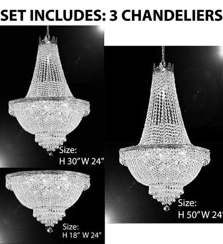 Set of 3-1 French Empire Crystal Chandelier Lighting H50 X W24 & 1 French Empire Crystal Chandelier Lighting H30 X W24 and French Empire Crystal Semi Flush Basket Chandelier Chandeliers Lighting H18 - C7/CS/870/9+CS/870/9+ FLUSH/CS/870/9