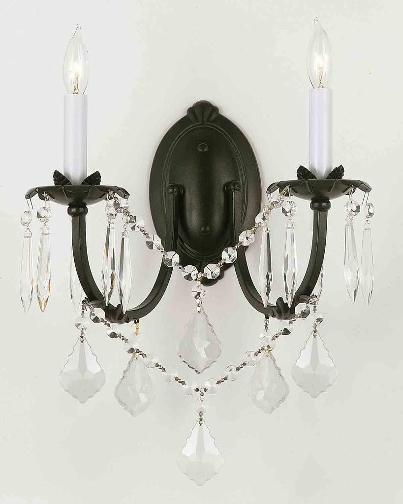 "Wrought Iron Wall Sconce Crystal Wall Sconces Lighting H11"" x W11"" - A83-2/3034"