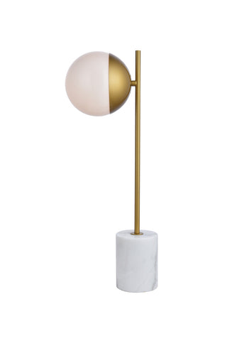 ZC121-LD6108BR - Living District: Eclipse 1 Light Brass Table Lamp With Frosted White Glass