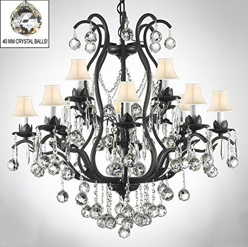 Wrought Iron Empress Crystal (Tm) Chandelier Lighting Dressed W/ Crystal Balls & White Shades - A83-B6/Sc/3034/8+4-White Shades