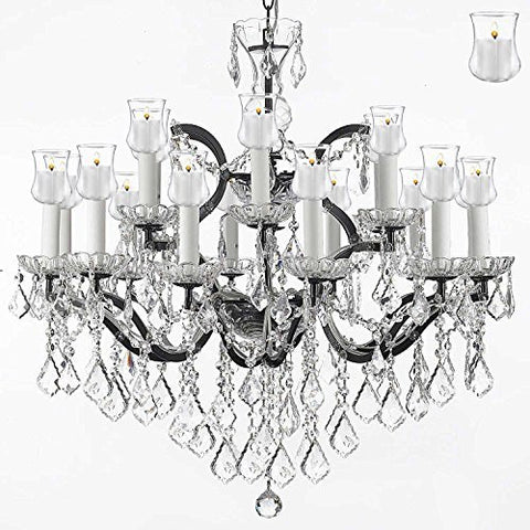 "Nineteenth C. Rococo Iron & Crystal Chandelier Lighting With Candle Votives H 28"" X W 30"" - A83-B31/995/18"