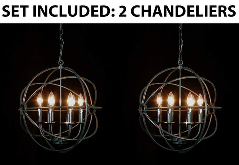 "Set of 2- Spherical Orb Wrought Iron Chandelier Lighting Country French 6 Lights Ceiling Fixture Sphere Modern Rustic H 20"" W 20"" - Great for The Kitchen, Dining Room, Bedroom and More ! - 2EA G7-ORB/6"