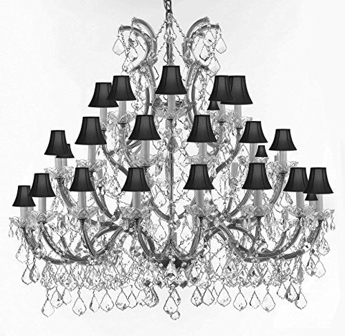 Swarovski Chandelier Crystal Chandeliers Lighting 52X46 With Black Shades - Reliable Crystal Quality By Swarovski - Gb104-Sc/Blackshade/Silver/756/36+1Sw
