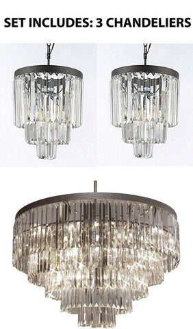 Set of 3-1 of Palladium Empress Crystal Glass Fringe Chandelier Lighting and 2 of Palladium Empress Crystal Glass Fringe 3-Tier Chandelier Mini Pendant - 1EA 1157/17B + 2EA 26043/3