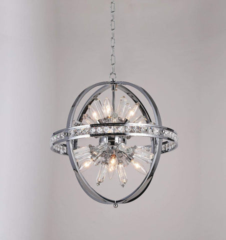 "Spherical Orb Chandelier Chandeliers Lighting Chrome Color H 18"" W 18"" - Great for the Kitchen, Dining Room, Living Room, Bedroom, Family Room and more - G7-2155/8"