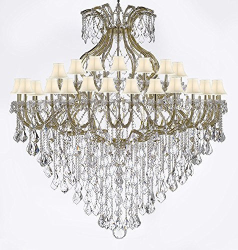 "Maria Theresa Empress Crystal (Tm) Chandelier Lighting H 72"" W 72"" With White Shades - Cjd-Sc-Cg/B12/2181/72"