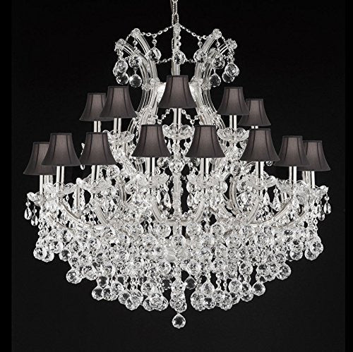 "Maria Theresa Empress Crystal(Tm) Chandelier Lighting With Black Shades H 36"" W 36"" - Cjd-B6/Cs/Sc/2181/36"