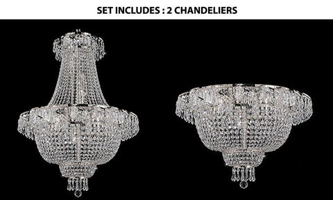 Set of 2 - 1 French Empire Crystal Chandelier Chandeliers Lighting Silver H30 X Wd24 and 1 Flush French Empire Crystal Chandelier Chandeliers Lighting Silver H19.5 X Wd24 Empire - 1EA-CS/928/9 + 1EA-CS/928/9-FLUSH